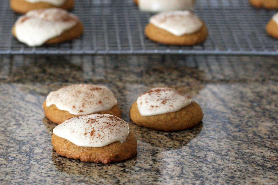 pumpkin cookies with caramel icing