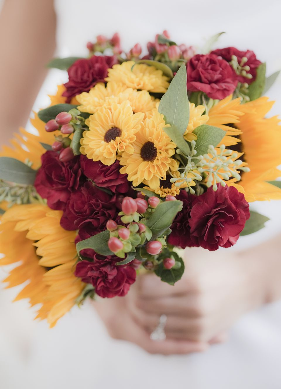 Fall wedding flower gallery rose and sunflower bridal bouquet junglespirit Images