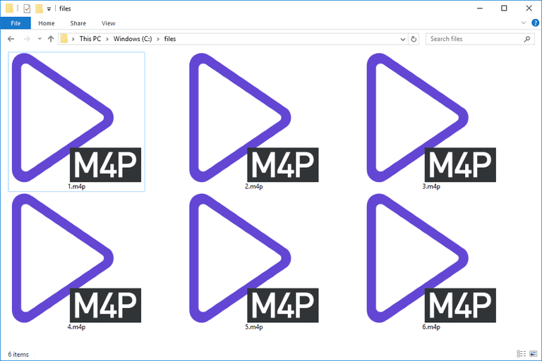 Screenshot of several M4P files in Windows 10 that open with PotPlayer