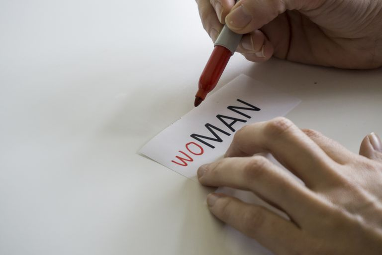 The word MAN, with letters added in front to spell WOMAN.