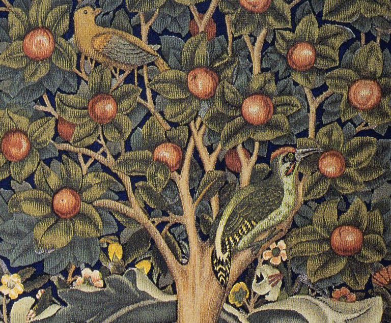 Detail of The Woodpecker tapestry designed by William Morris.