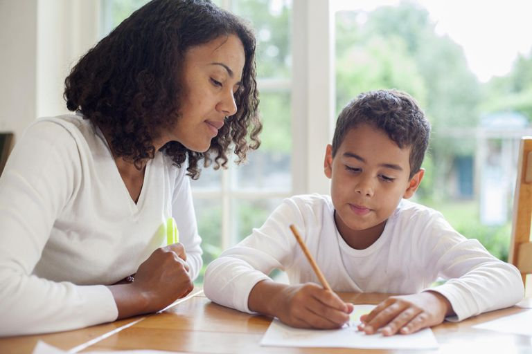 Mother with son doing homework