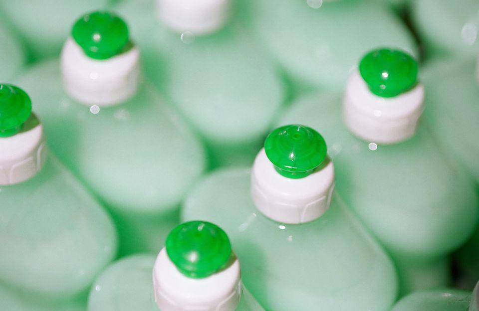 Row of washing up bottles