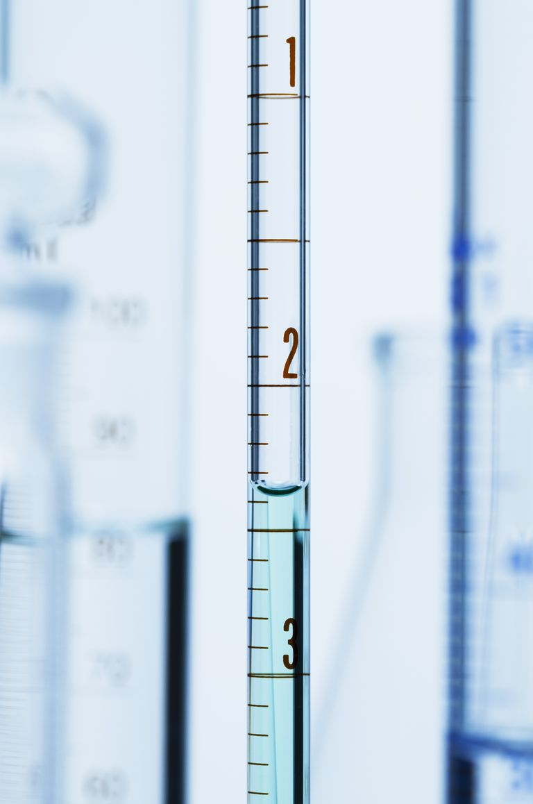 Curved surface (meniscus) of water in graduated pipette. Liquid volume measured by reading the scale at the bottom of the meniscus. The reading is 2.37 mL.
