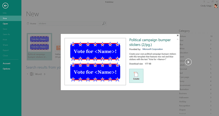 Campaign or 4th of July Labels Template or Printable for Microsoft Publisher
