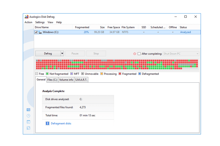 Screenshot of Auslogics Disk Defrag v7.2 in Windows 10