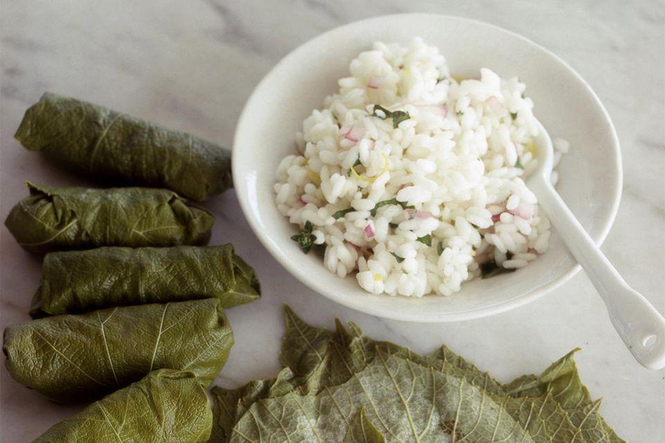 Pickled grape leaves + rice