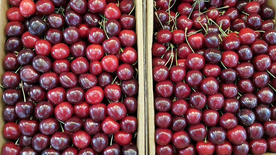 Fresh Ripe Cherries at Market