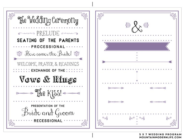 A wedding program template in black and lavendar