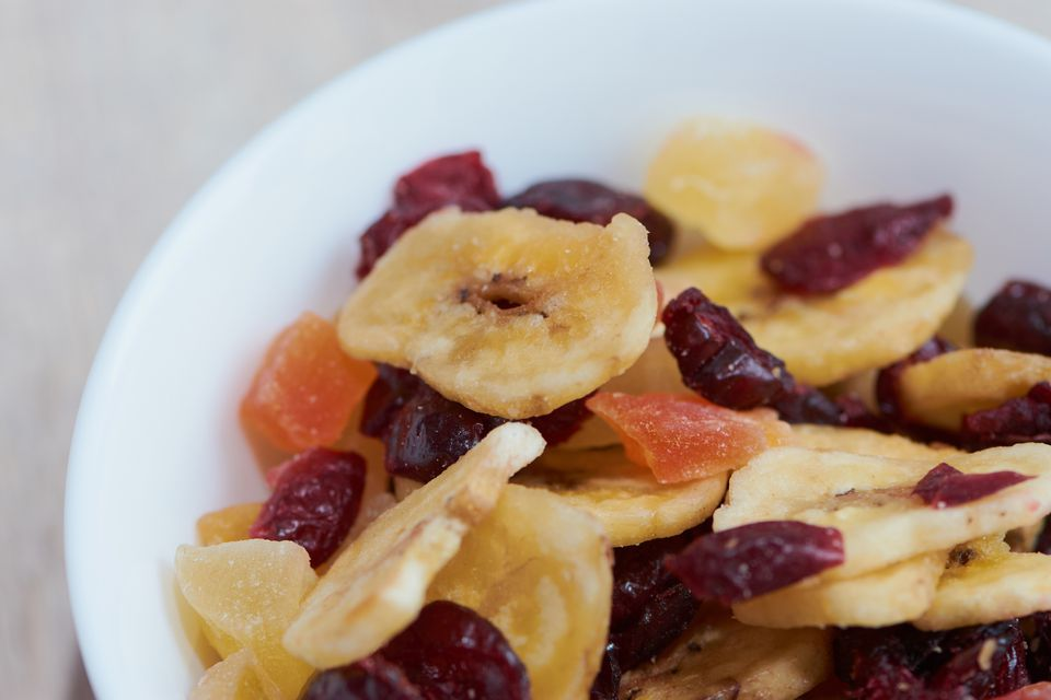 Banana chips and dried fruit