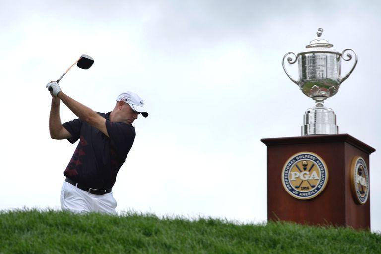 Wanamaker Trophy and PGA of America logo