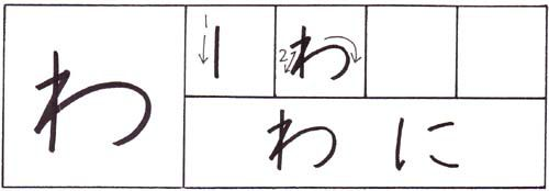 how to write the hiragana wa character