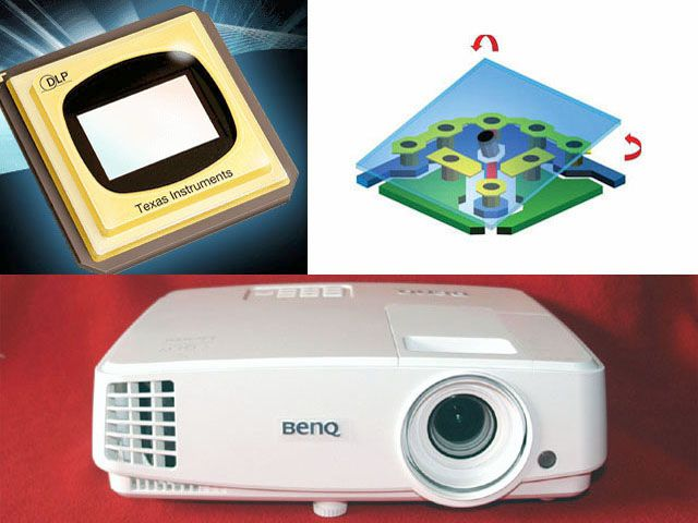 Image of DLP DMD Chip (top left) - DMD Micromirror (top righht) - Benq MH530 DLP Projector (bottom)