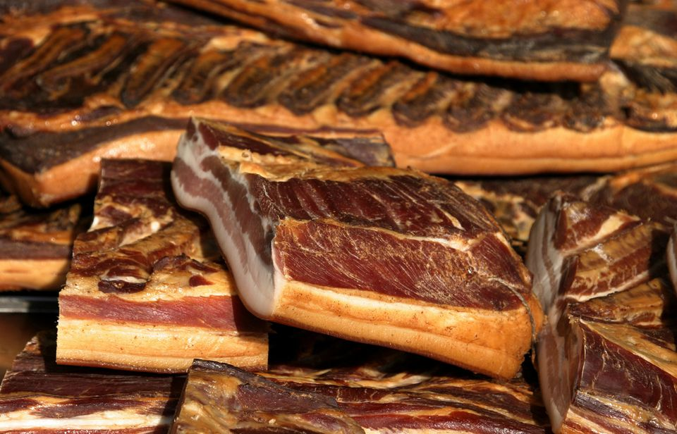 Slabs of traditional speck