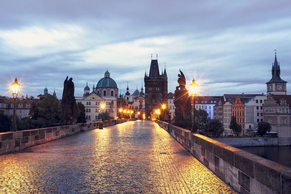 Czech Republic, Prague, Blue hour at Charles Bridge