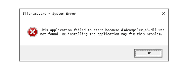 Screenshot of a D3dcompiler_43.dll error message