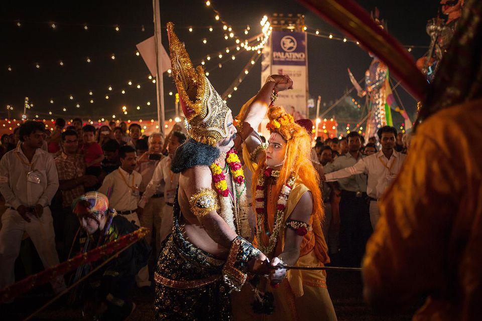 Ramlila scene of Ram and Ravan fighting at Dasara