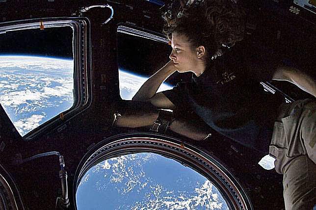 An astronaut aboard ISS.