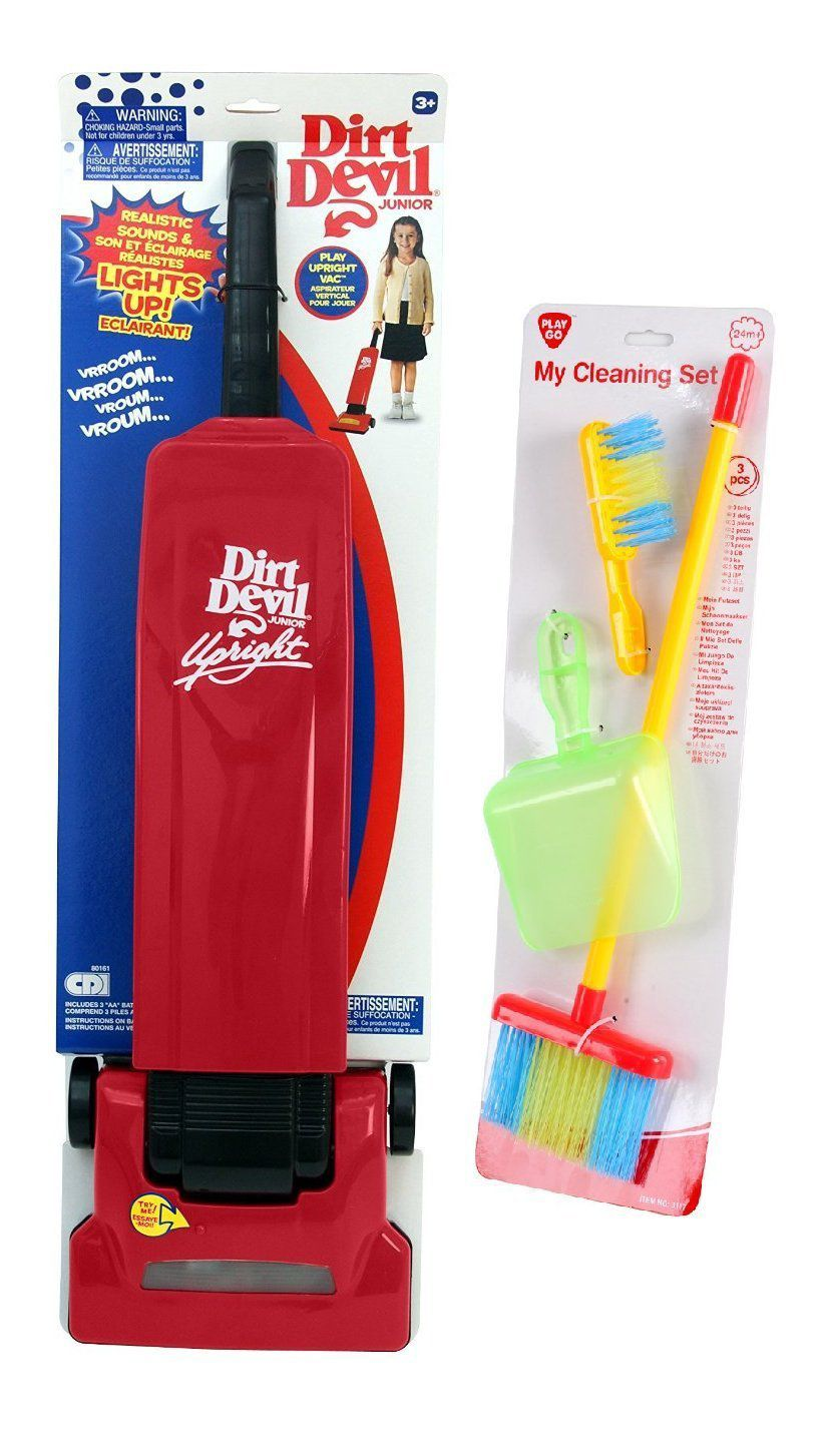 This Dirt Devil cleaning set comes with 4 child sized tools.