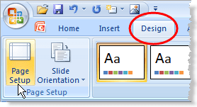 Access Page Setup to change to widescreen in PowerPoint