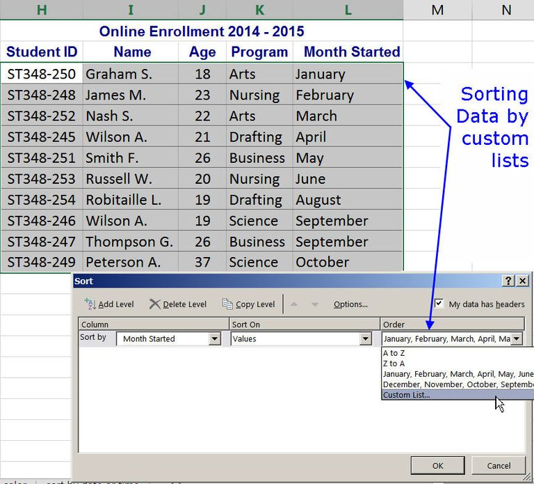 how to add a sort button in excel 2013