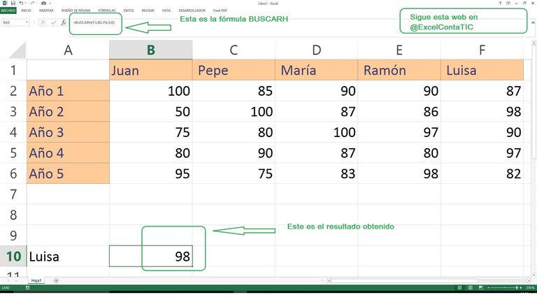 BUSCARH en Excel