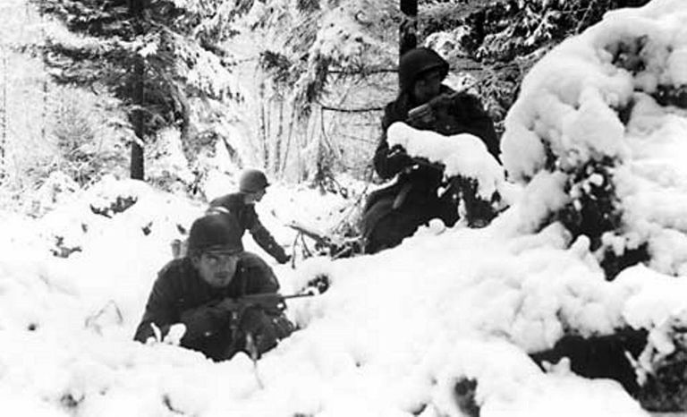 Troops during the Battle of the Bulge
