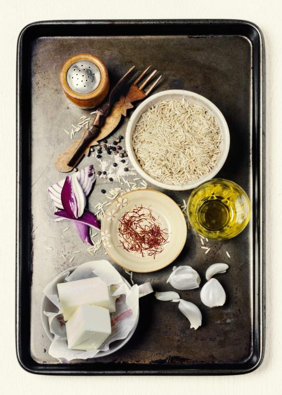 Ingredients for making risotto