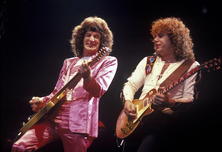 Kevin Cronin and Gary Richrath of the American rock band REO Speedwagon perform in Boston during summer of 1981.