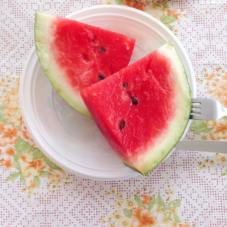 Close-Up Of Sliced Watermelon On Plate
