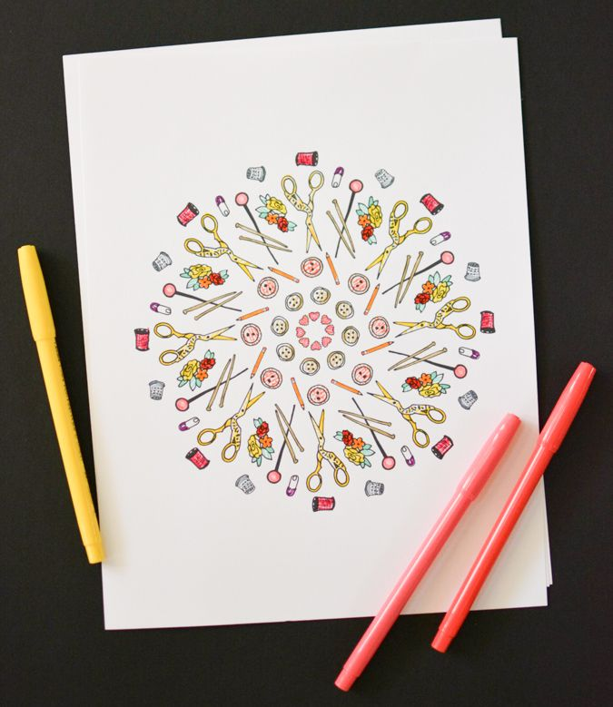Printable Sewing Coloring Page