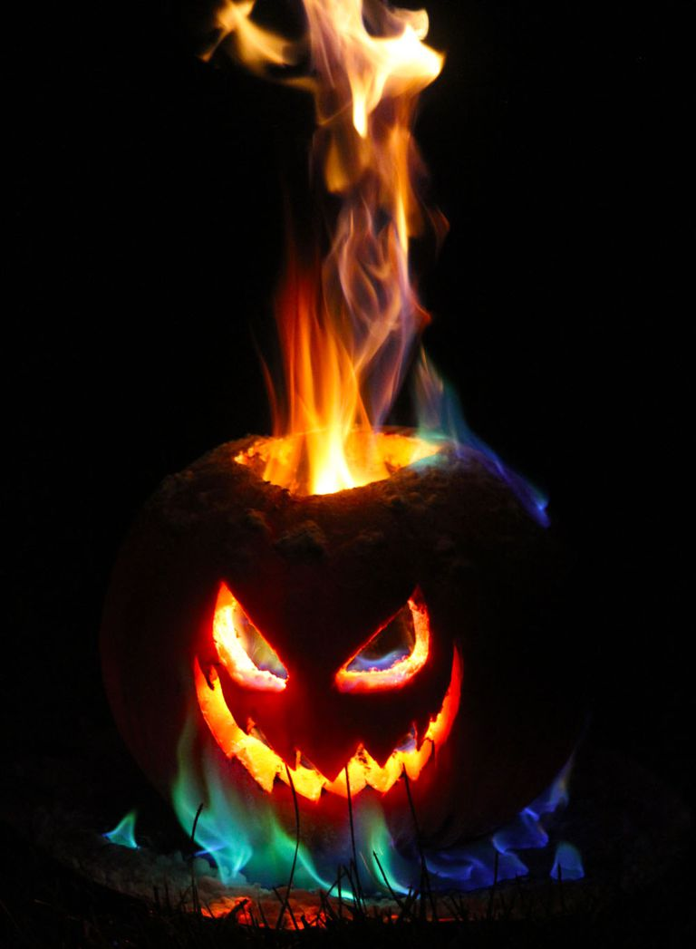 You can make a long-lasting tower of flame for your jack-o-lantern.