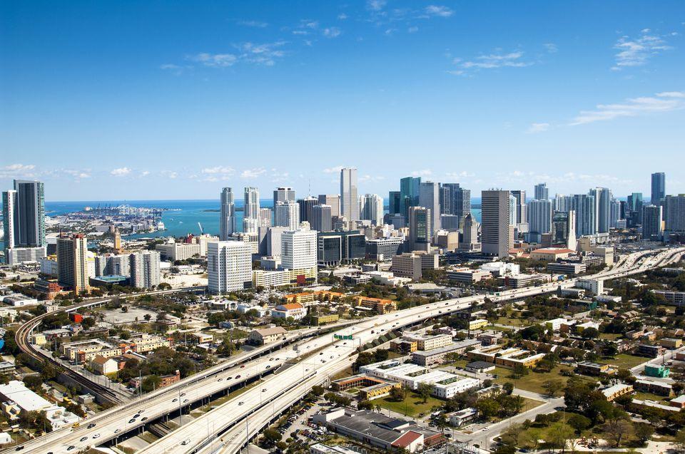 Aerial Miami skyline and interstate 95