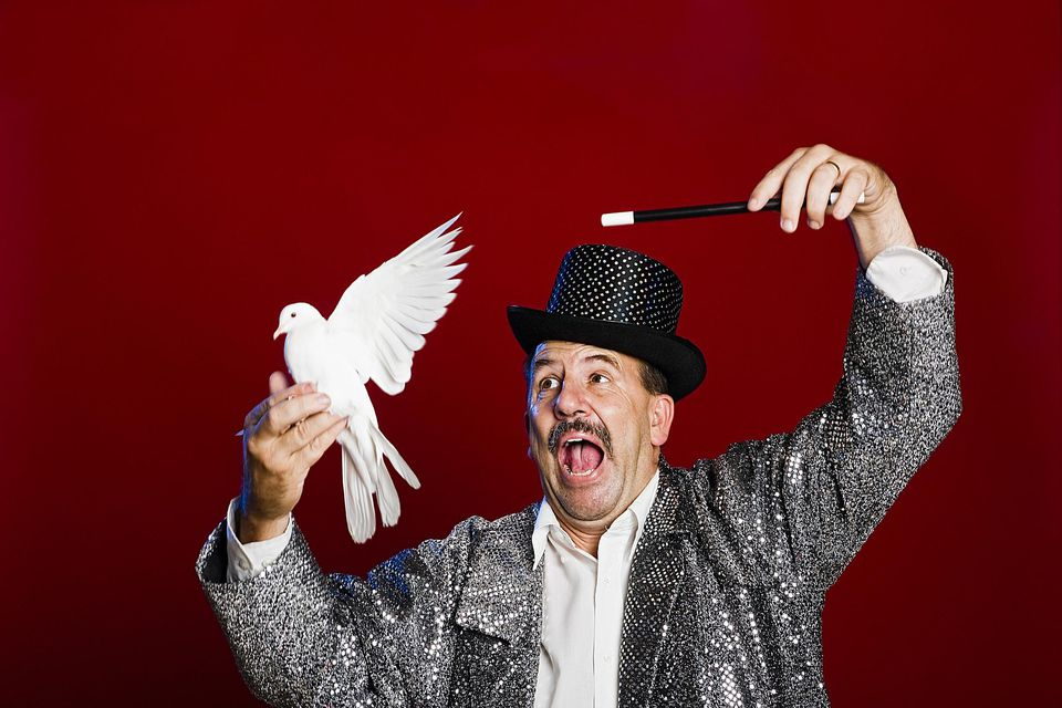 Magician with white dove