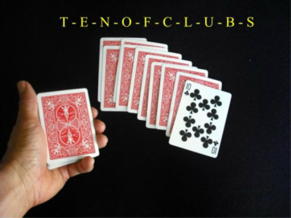 Deck of cards with 10 of clubs showing