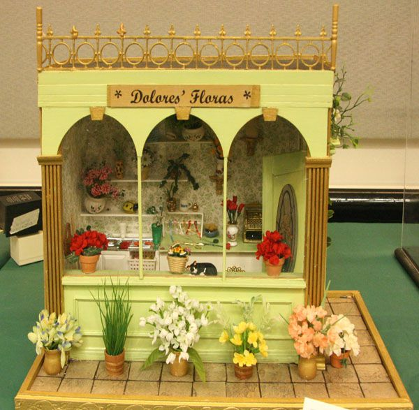 Custom Miniature Flower Shop Container Made From Books